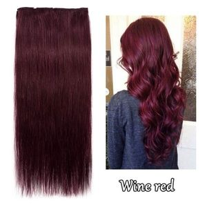 """🔺24"""" WINE RED CURLY FULL HEAD CLIP INS *NWT*"""